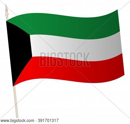 Vector Waving Flag On A Flagpole. The National Flag Of Kuwait.