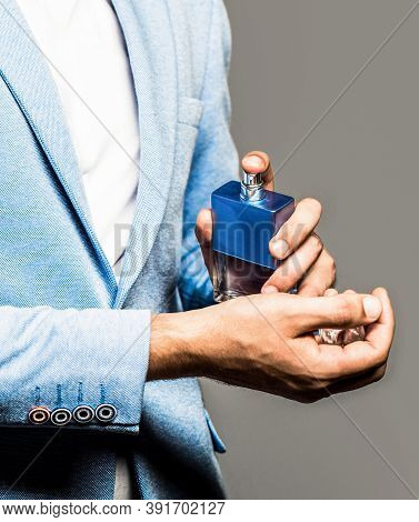 Perfume Or Cologne Bottle. Male Fragrance And Perfumery, Cosmetics. Man Perfume, Fragrance. Masculin