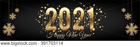 Golden New Year 2021 Posters Horizontal With Burst Glitter On Black Colour Background - New Year 202