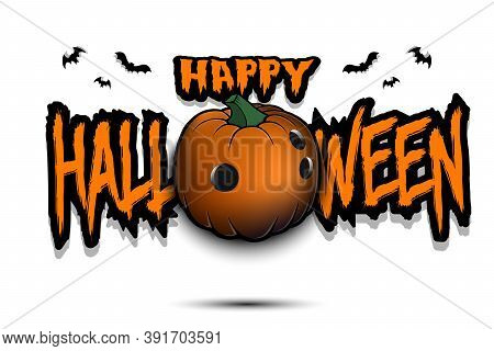 Happy Halloween. Template Bowling Design. Bowling Ball In The Form Of A Pumpkin On An Isolated Backg