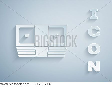 Paper Cut Bribe Money Cash Icon Isolated On Grey Background. Money Banknotes Stacks. Bill Currency.