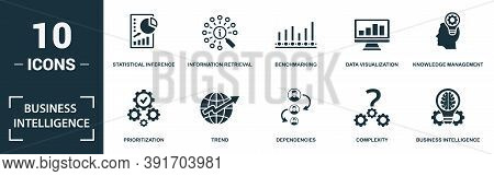 Business Intelligence Icon Set. Monochrome Sign Collection With Statistical Inference, Information R