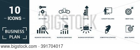 Business Plan Icon Set. Monochrome Sign Collection With Market Share, Target Customer, Strategy Tool