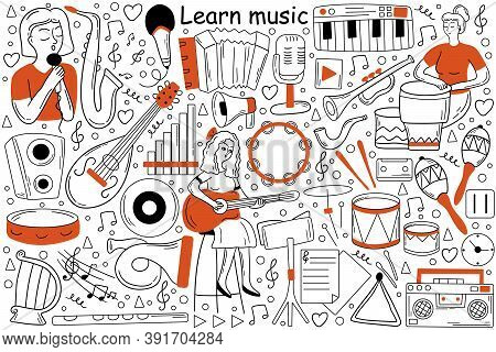 Learn Music Doodle Set. Collection Of Sketches Templates Patterns Of Woman Girl Teenager Musician Le