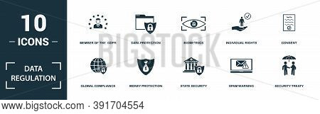 Data Regulation Icon Set. Monochrome Sign Collection With Social Network, Message Protection, Privac