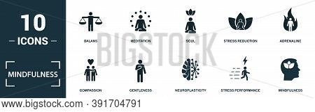Mindfulness Icon Set. Monochrome Sign Collection With Balans, Meditation, Soul, Stress Reduction And