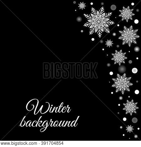 Winter Greeting Card With White Snowflakes And Glowing On Black. Vector Holidays Background, Celebra