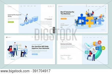 Set Of Website Template Designs Of Business Services And App, Data Analysis, Marketing And Web Desig