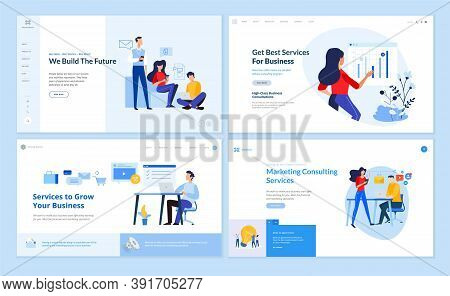 Set Of Website Template Designs Of E-commerce, Marketing Consulting, E-business, Startup. Vector Ill