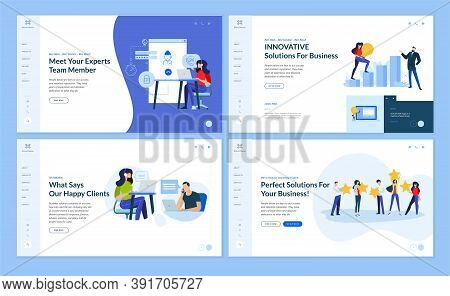Set Of Website Template Designs Of Technical Support, Customer Relations, Business Innovations, Star