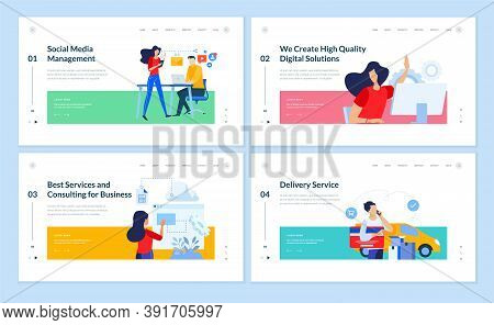 Set Of Website Template Designs Of Social Media Management, Project Development, Business Consulting