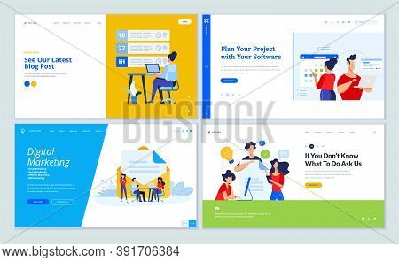 Set Of Website Template Designs Of Blog, Project Management, Digital Marketing, Creative Solutions,