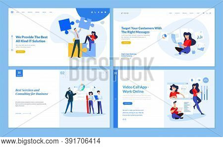 Set Of Website Template Designs Of It And Business Solution, Consulting, Video Call App, Work Online