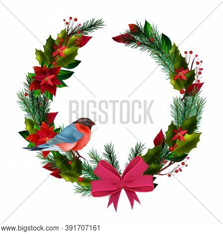 Christmas Winter Circle Wreath With Bullfinch, Evergreen Leaves, Poinsettia, Bow Isolated On White.