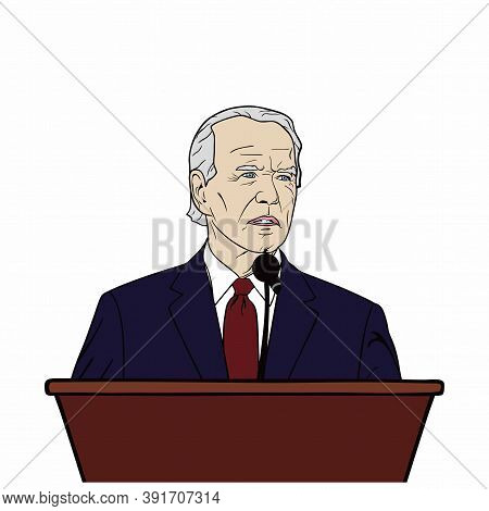 Election Of Usa, Joe Biden Speech On Podium, Flat Design, Vector, Illustration. Washington.
