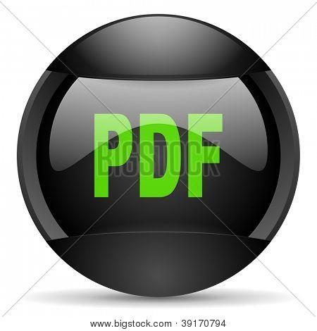 pdf round black web icon on white background