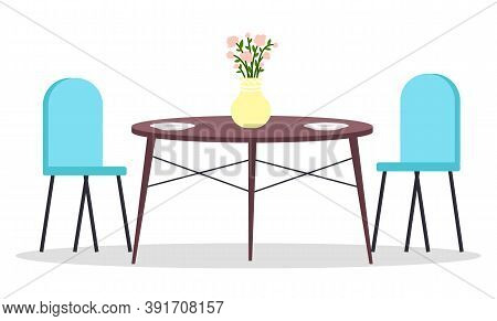Isolated Chairs, Table With Flower In Vase And Two Food Plates At White Background. Modern Stylish F