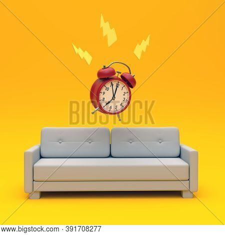 Red Alarm Clock Rings At 7:00 On The Couch Against A Yellow Background. Creative Minimal Idea. 3d Re