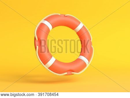 Lifebuoy On A Yellow Background. Minimal Idea Ring Buoy Creative Concept Design Copy Space. 3d Rende