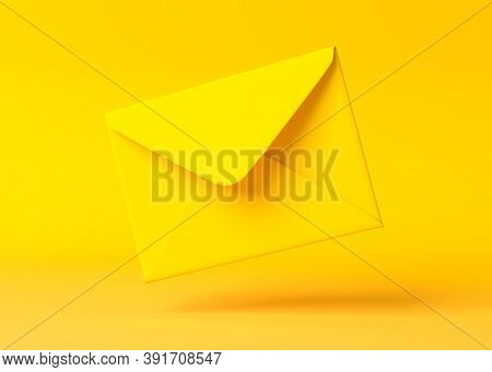 Envelope Falling On The Ground On A Yellow Backgorund. Email Notification. Minimal Design. 3d Render