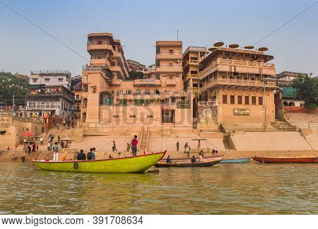 Varanasi, India - November 07, 2019: Colorful Boats At The Meer Ghat In Varanasi, India