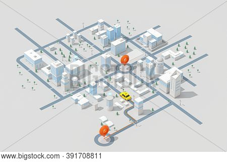 Mini-city With A Taxi, Transportation Background, 3D Rendering.