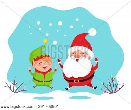Smiling Elf Helper And Santa Claus Jumping Of Joy. Merry Christmas Greeting Card With Funny Winter T