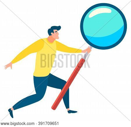 Man With Magnifying Glass In Hands Isolated On White. Researching Process, Looking For, Investigatin