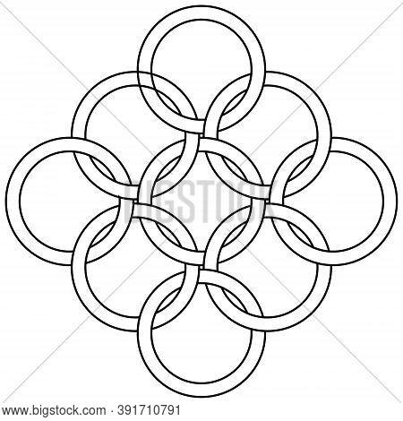 Logo Pattern Of Interlocking Rings Chainmail Element, Vector Interlocking Rings Pattern