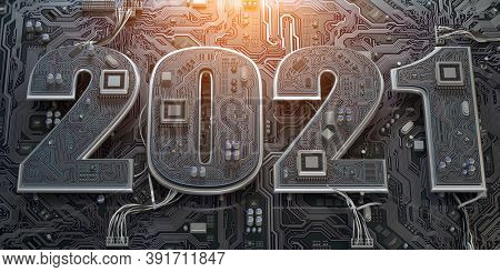 New 2021 year in computer technology and internet commucations industry concept. Motherboard chipset with number 2021. 3d illustration