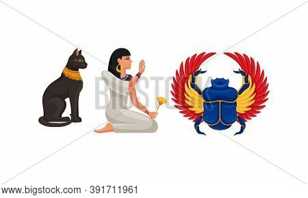 Egypt Attribute With Cat Figurine And Scarab Beetle Vector Set