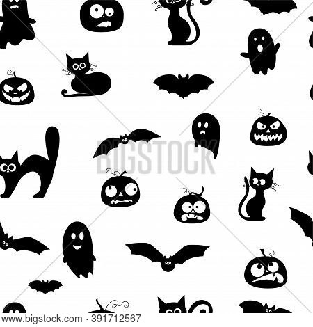 Modern Halloween Pattern. Abstract Decoration Background With Bats, Ghosts, Pumpkins, Cats. Backgrou