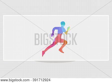 Healthy Geometric Running Marathon Athletes Sprinting Badges Vector