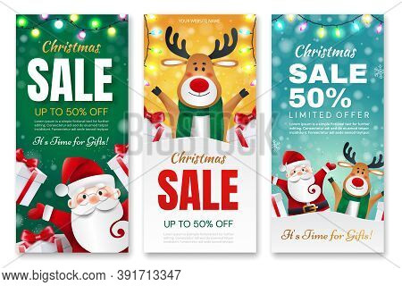 Set Of Christmas Flyers. Santa Claus And Deer With Gifts Announces Holiday Discounts.