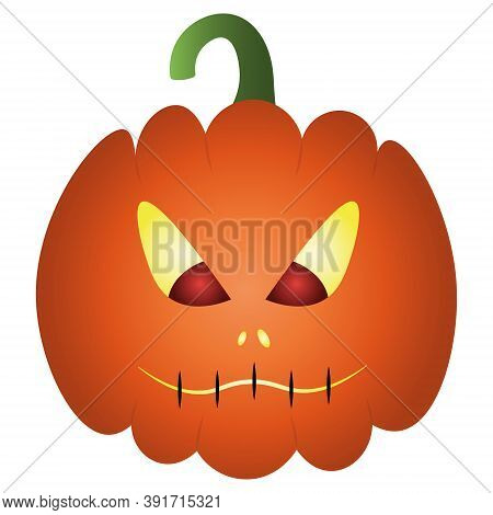 Pumpkin. Ominous Grimace. The Mouth Is Sewn Up. Colored Vector Illustration. Halloween Symbol. Isola