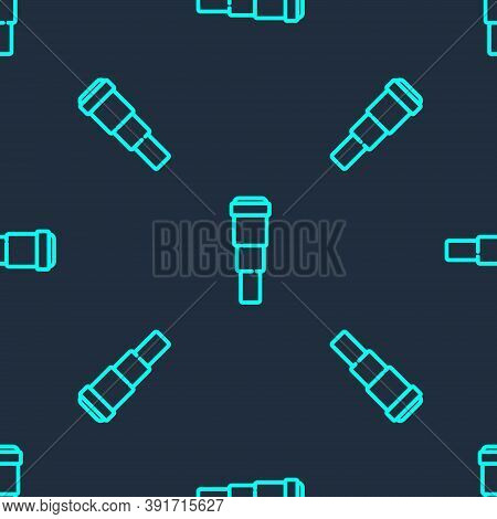 Green Line Spyglass Telescope Lens Icon Isolated Seamless Pattern On Blue Background. Sailor Spyglas