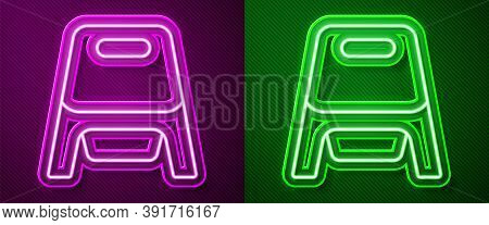 Glowing Neon Line Baby Potty Icon Isolated On Purple And Green Background. Chamber Pot. Vector