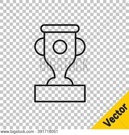 Black Line Award Cup Icon Isolated On Transparent Background. Winner Trophy Symbol. Championship Or