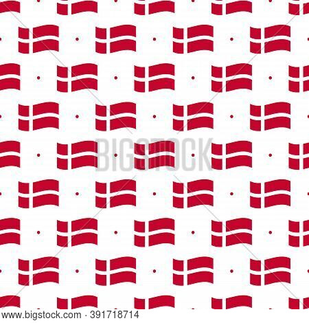 Denmark Flags And Dots Vector Seamless Pattern Background For Flag Day And Other Danish National Hol
