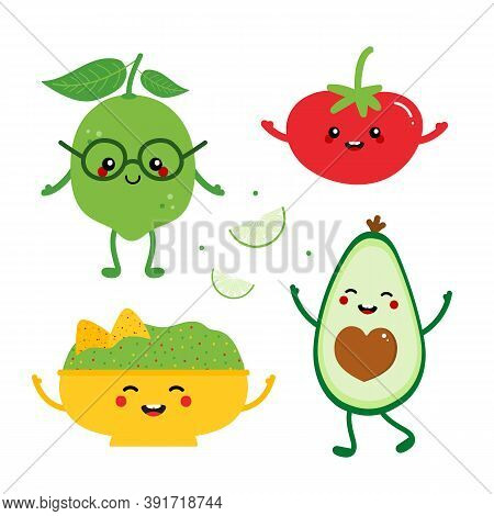 Guacamole Ingredients Vector Cute Cartoon Style Characters. Bowl Of Guacamole With Nachos Chips, Red
