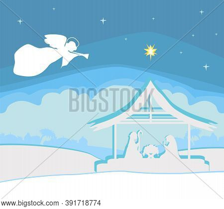 Christmas Religious Nativity Scene With An Angel And The Star Of Bethlehem , Vector Illustration