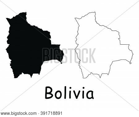 Bolivia Country Map. Black Silhouette And Outline Isolated On White Background. Eps Vector