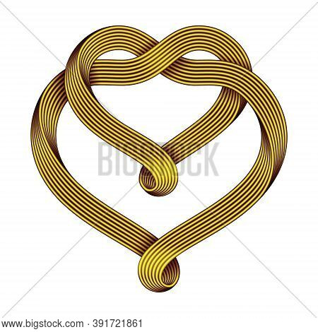 The Sign Of The Union Of Two Hearts Made Of Intertwined Golden Wire Bundles. Symbol Of Infinite Love