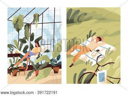 Alone With Nature, Solitude Concept. Happy Relaxed Woman In Greenhouse With Plants. Single Man Relax