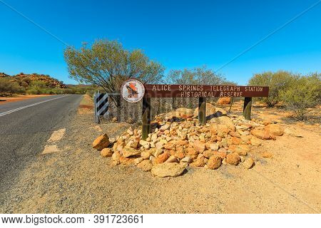 Alice Springs, Northern Territory, Australia - Aug 14, 2019: Gate Of The Telegraph Station In Alice