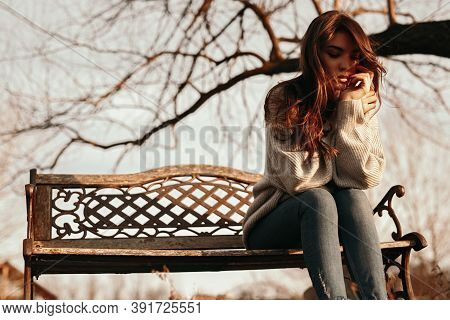 Low Angle Of Unhappy Lonely Young Female In Warm Clothes Sitting On Bench Against Leafless Tree In A