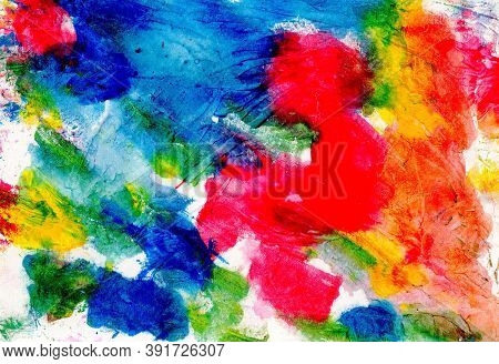 Abstract Watercolor Painting On Paper,  Hand Painted In Multicolor For Background