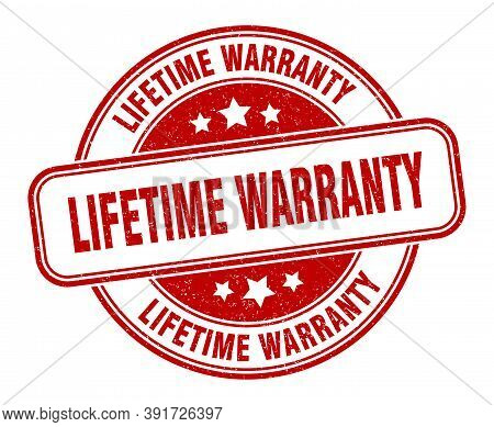 Lifetime Warranty Stamp. Lifetime Warranty Round Grunge Sign. Label