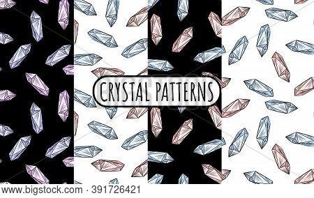 Set Of Crystal Doodles Seamless Border Patterns. Cute Cartoon Vector Quartz Amethyst Wallpapers. Coz