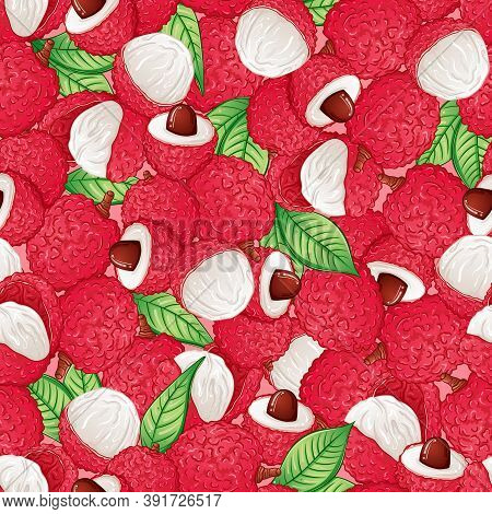 Exotic Lychee Fruit Seamless Pattern. Print For Fabric, Textile, Wrapping Paper, Background Design V